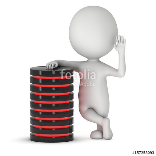 Man stand near futuristic server hard disk and database or batte